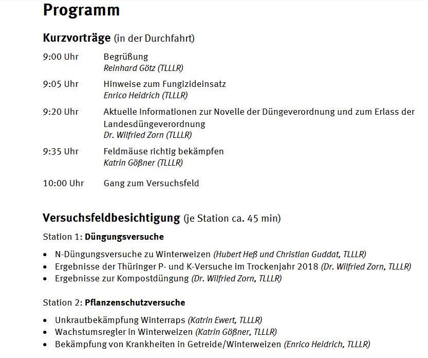 Feldtag Pflanzenschutz und Düngung @ Versuchsfeld Dornburg