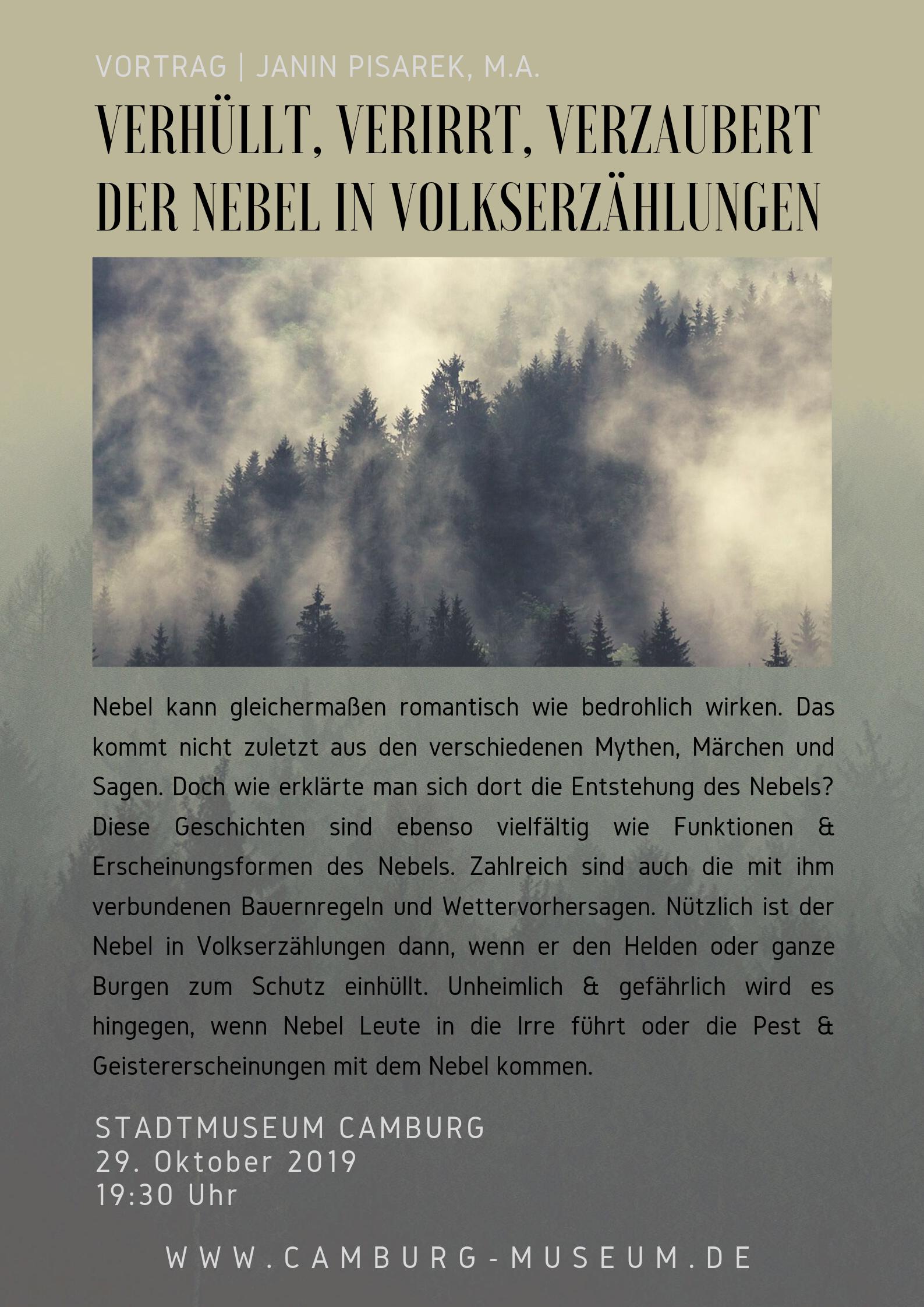 """""""Verhüllt, verirrt, verzaubert"""" - Nebel in Volkserzählungen @ Stadtmuseum Camburg"""