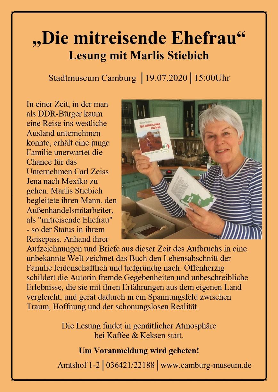 """Lesung: """"Die mitreisende Ehefrau"""" mit Marlis Stiebich @ Stadtmuseum Camburg"""